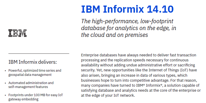 IBM Informix 14.10 IBM Solution Brief - Download