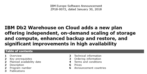 DB2 Announcements - CURSOR Service Distribution