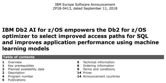 IBM Db2 AI for z/OS ENUSZP18-0413 (2018-09) - CURSOR Service